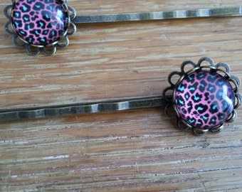 Pink and Blue Leopard Print Hairpins