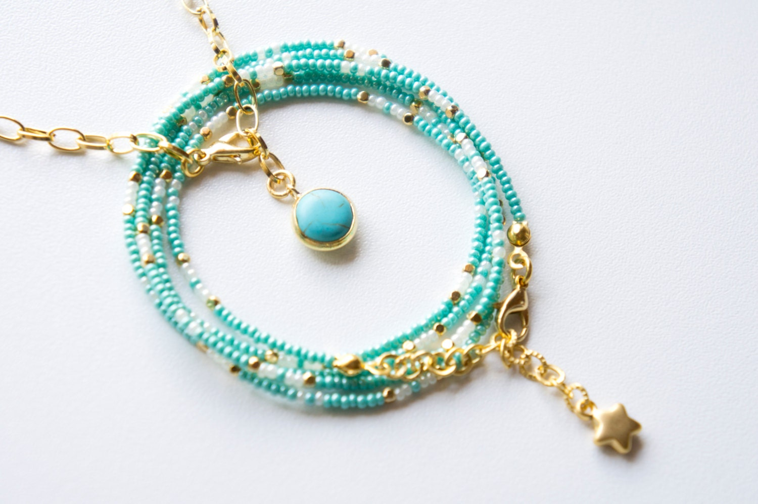turquoise seed bead multistrand bracelet beaded by