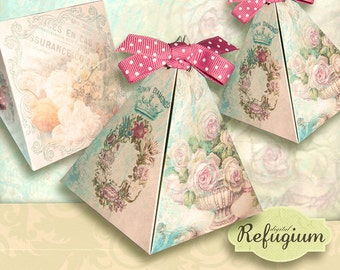 printable Triangle Box flowery / INSTANT DOWNLOAD/ Digital Collage Sheet/favor box