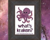What's Kraken, Funny Cross Stitch Pattern, Pun Embroidery, Kawaii Octopus - PDF, Instant Download