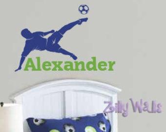 Soccer wall decal sports custom name bedroom decor