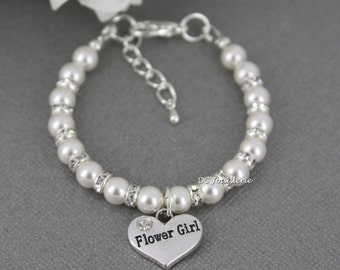 Flower Girl Bracelet, White Pearl Bracelet, Swarovski Bracelet, Bridal Party Jewelry, Flower Girl Gifts, Available in White or Ivory