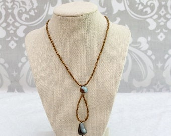Coffee Brown and Blue Choker: Metal Free Jewelry, Hypoallergenic Jewelry