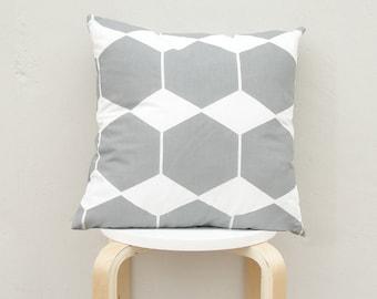 Gray Hexagon pillow cover, Gray Geometric Pillow Case 16x16