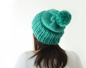 slouchy knit mint green beanie, pom pom wool knitted hat, ribbed oversized bobble beanie / Whin / Mint