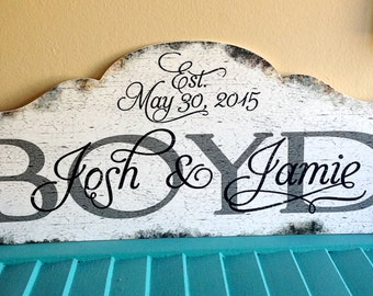 CUSTOM WEDDING NAME Rustic Faux Wood Distressed Sign, Personalized Wedding Sign, Vintage Sign, Bridal Gift, Family Name Sign, Cottage Decor