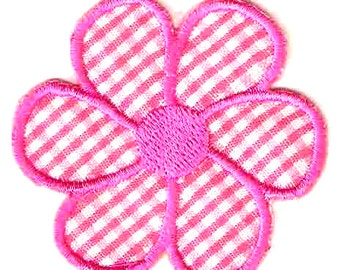 Pink Flower Iron On / Sew On Patch Embroidered Applique ~ pink checkered fabric petals