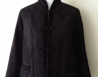 Vintage black coat, 50's coat, reversible coat, cropped jacket, vintage fur coat, size M L