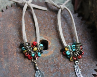 Suede Cord Feather Earrings