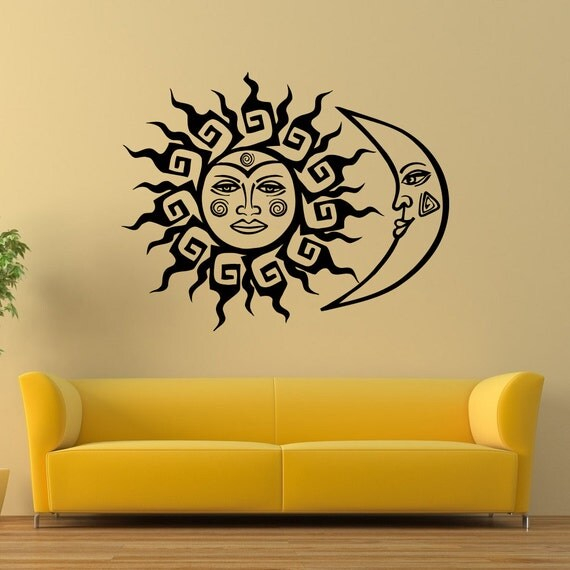 wall decal vinyl sticker sun and moon crescent ethnic dual. Black Bedroom Furniture Sets. Home Design Ideas