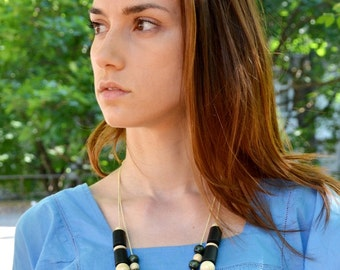 Black and White Wooden Necklace Natural wood Long wooden beaded jewelry Adjustable Eco-friendly
