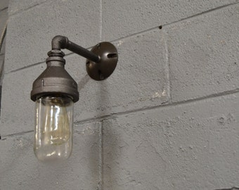 Outdoor light - glass light  - Kitchen Light - Wall Sconce - Industrial Sconce - Vintage Light - Old Light - Ship Light - Nautical Light