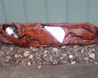 redwood salmon carving with mirror
