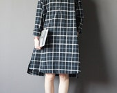 Black and grey plaid shirt dress- long sleeve cotton and linen blend dress-women dress-autumn dress-inside dress-plus size dress