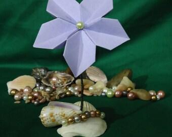Single Origami Flower on Seashell Base