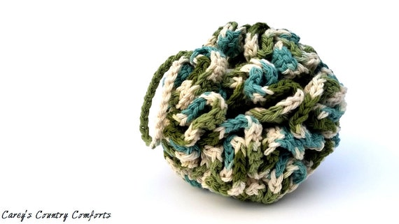 Cotton Crochet Loofah (Extra Large)  - Bath Puff - Shower Pouf - Eco-Friendly Spa  - Bath and Body - Bath Accessory
