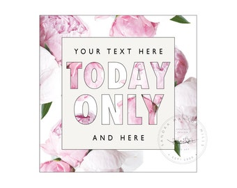 Website Button   TODAY ONLY   Pink Peonies   Graphic Element   Styled Image