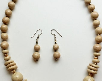 Vintage Beige Jasper Stone Necklace and Matching Earrings From Mexico