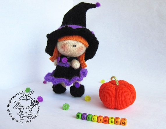 Free Knitting Pattern Witch Doll : Pebble doll Young Witch and Pumpkin knitting pattern