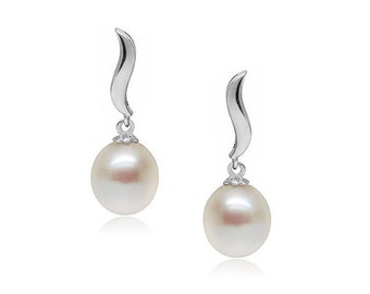 Freshwater Pearl Earrings - Alice White - Drop Pearl Earrings with Sterling Silver Base - Bridal Pearl Earrings - Real Pearls