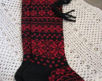 Long  knit socks. knitted socks. Wool socks. Norwegian socks. Christmas socks. gift to woman. gift to man. handmade socks. Women socks