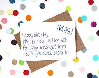 facebook funny birthday card  etsy, Birthday card