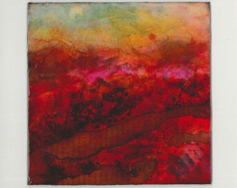 Small abstract landscape painting ~ Mixed media ~ Original  ~ Colorful contemporary artwork  ~ AUTUMN SUN