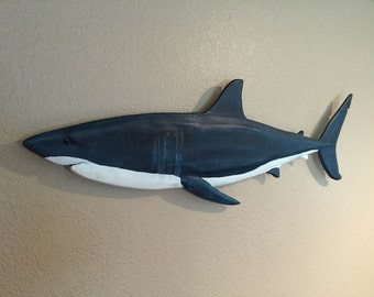 "Shark, Great White Carved and Hand Painted Large 24"" or 36"" Long Nautical, Marine, Coastal Wall Art"