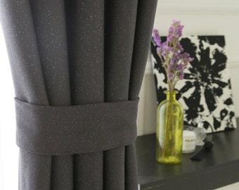 Silver Foil Accent Charcoal Blackout Curtain Nursery Curtains