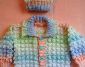 Hand Knitted Baby Bobble  cardigan,  Hand Knitted Baby Pastel Cardigan, Hand knitted Bobble cardigan ,  Bobble cardigan , Baby Shower Gift