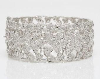 Statement Cuff, Floral Bracelet, Wedding Bracelet, Openable Bracelet, Cuff Bracelet, Bridal Jewelry, Wedding Jewelry, Sumita Wedding Bangle