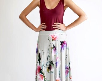 Floral Maxi Skirt, Bohemian Skirt, Festival Clothing, High Waisted Skirt, Long Maxi Skirt, White Long Skirt, Casual Skirt, Cotton Skirt