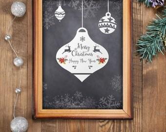 Christmas wall art holiday print Merry Christmas print printable art holiday print decoration Christmas wall art Christmas art print BD-388