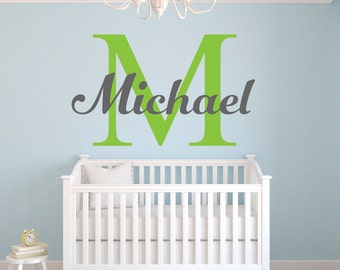 Boys Name Wall Decal - Personalized Name Decal - Monogram Decal - Kids Wall Decals - Boys Wall Decals - Baby Boy Nursery Wall Decal