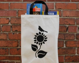 Black Sunflower Tall Cotton Canvas Grocery Bag