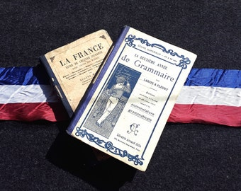 Set of 2 Antique French Grammar and Reading books / 1922 / Armand Colin / Sorbonne