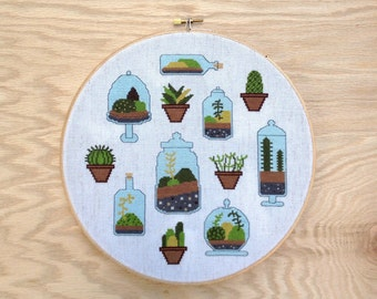 Terrarium - Modern cross stitch pattern PDF - Instant download