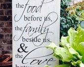 Bless this food before us, Wood Sign Saying, Hand Painted,Prayer Wood Sign, Kitchen Wood Sign, Wood Sign, Sign,Christian Sign