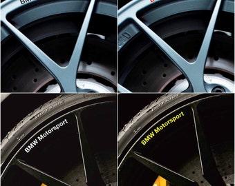 BMW Motorsport Rims Alloy Wheel Decals Stickers Series 1 2 3 4 5 6 M3 M5 X1 X3 X5 X6 Z4 M e30 e36 e46 e39 e60 e90 e92 f10 f20 - All models