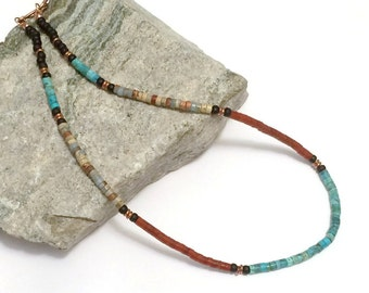 Nacozari Turquoise Necklace, Native American Jewelry, Heishi Necklace, Tribal, Boho, Southwestern Necklace, Unisex Necklace, Jasper Necklace