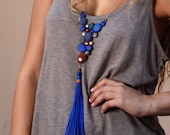 Long tassel necklace, Royal blue necklace for women, Electric blue necklace,Chunky long necklace, one of a kind jewelry,shabby chic necklace