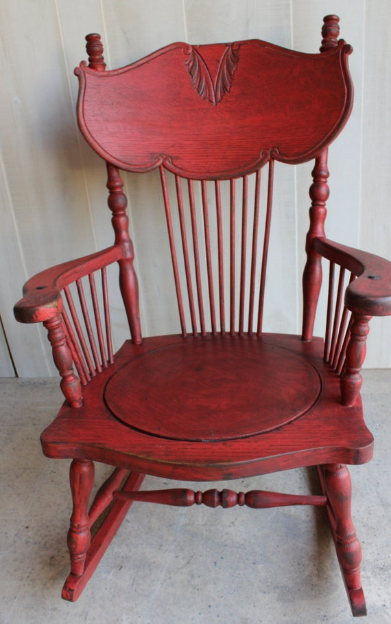 Antique ROCKING CHAIR Primitive RED by SpendThriftThrive