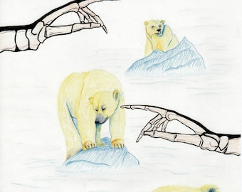 "Poster A3. Polar Bear, The North, Skeleton Hands Illustration. Ice Bear. Blue and Yellow. Ink and Pencils. A3 Art Drawing. ""Global Warning""."