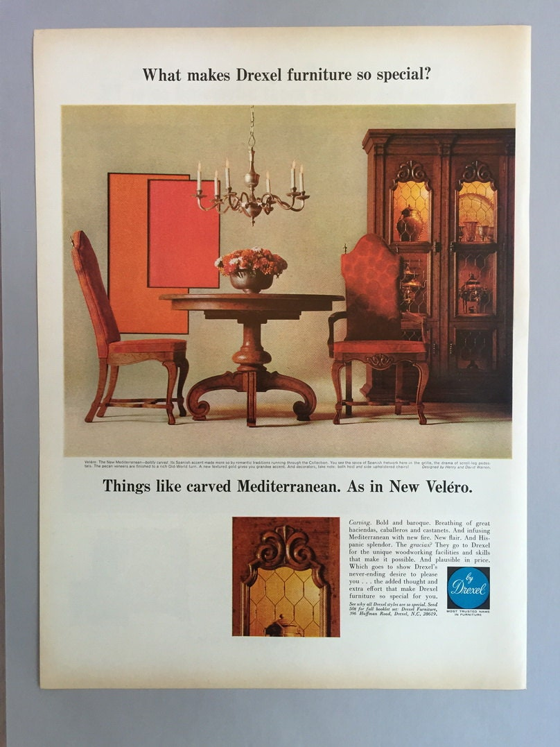 1968 drexel furniture print ad 60s style furnishings for Furniture 60s style