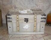 Shabby Vintage Style Trunk Large Wedding Box Card Holder Wood Chest Lace Bridal Keepsake Rustic Elegant Bride Cream Ivory Gray Memory Box