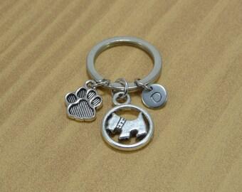 Dog Keychain, Paw Print Keychain, Dog Paw Keychain, Doggie Keychain, Dog Lover Gift, Doggy, Pet, Personalized, Customized, Engraved