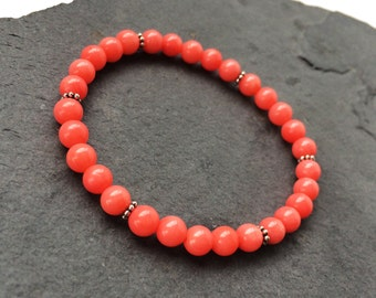 Pink Coral and .925 Sterling Silver Stretch Bracelet