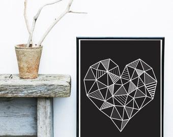 Geometric Art Print, Heart, Printable Art, Geometric Heart, Black and white, Scandinavian Print, Minimalist Art, Digital Download