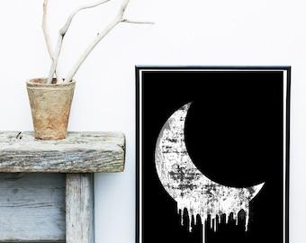 Abstract Art Print, Printable Art, Crescent Moon Print, Scandinavian Art, Circle Print, Mid Century, Wall Decor, Wall Art, Digital Download