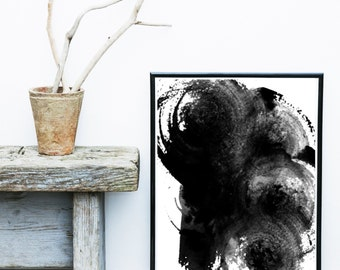Ink Art, Abstract Art Print, Abstract Art, Digital Download, Printable Artwork, Black Abstract, Minimalist Print, Wall Decor, Home Decor